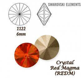 SWAROVSKI RIVOLI 1122 RED MAGMA 6mm