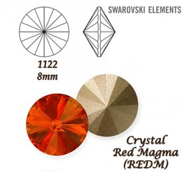 SWAROVSKI RIVOLI 1122 RED MAGMA 8mm