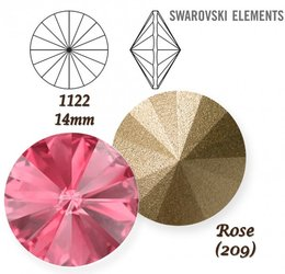 SWAROVSKI RIVOLI 1122 ROSE 14mm