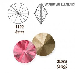 SWAROVSKI RIVOLI 1122 ROSE 6mm