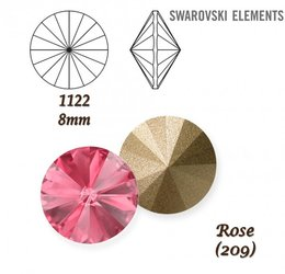 SWAROVSKI RIVOLI 1122 ROSE 8mm