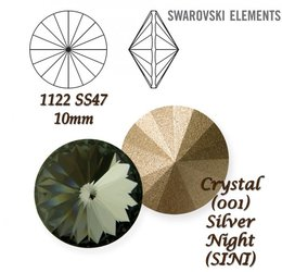 SWAROVSKI RIVOLI 1122 SILVER NIGHT 10mm