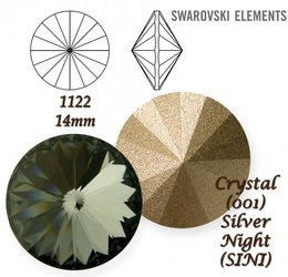 SWAROVSKI RIVOLI 1122 SILVER NIGHT 14mm