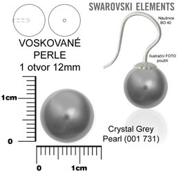 SWAROVSKI perle 1 OTVOR 5818 12mm GREY 731