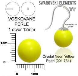 SWAROVSKI perle 1 OTVOR 5818 12mm NEON YELLOW 734