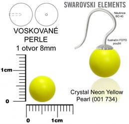 SWAROVSKI perle 1 OTVOR 5818 8mm NEON YELLOW 734