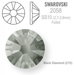 Swarovski 2058 Foiled SS10 Black Diamond