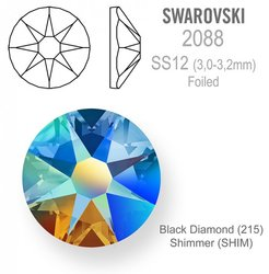 Swarovski 2088 Foiled SS12 Black Diamond  Shimmer