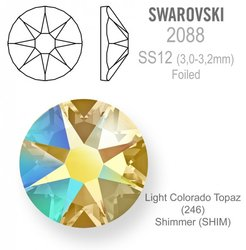 Swarovski 2088 Foiled SS12 Light Colorado Topaz Sh