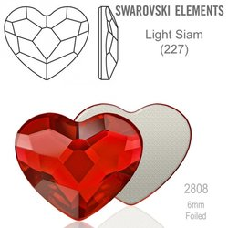 Swarovski 2808 Heart Flat Back LIGHT SIAM 6mm