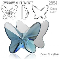 Swarovski 2854 Butterfly Flat Back 12mm Denim Blue