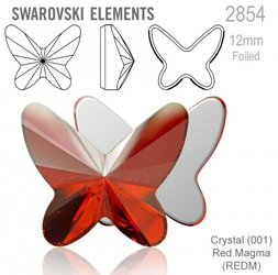 Swarovski 2854 Butterfly Flat Back 12mm Red Magma