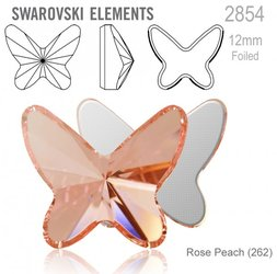 Swarovski 2854 Butterfly Flat Back 12mm Rose Peach