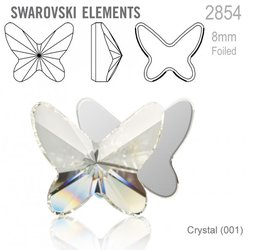 Swarovski 2854 Butterfly Flat Back 8mm Crystal