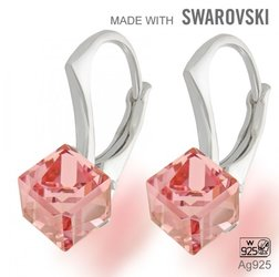 Swarovski 4841 Light Rose 6mm+ nausnice Ag