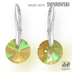Swarovski 6428 Luminous Green 12mm+ nausnice Ag925