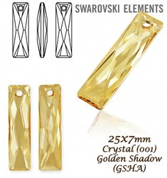 Swarovski 6465 Queen Baguette 25x7mm Golden Shado