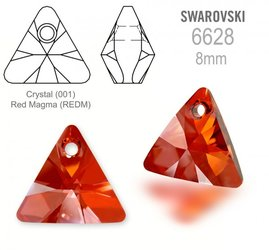 Swarovski 6628 Triangle 8mm Red Magma