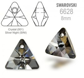 Swarovski 6628 Triangle 8mm Silver Night