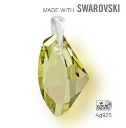 Swarovski 6656 Luminous Green  27mm + slupna Ag925