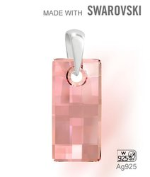 Swarovski 6696 Antique Pink 20x10mm + slupna Ag925