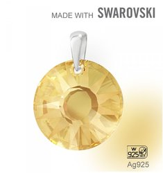 Swarovski 6724 Golden Shadow19mm+slupna Ag