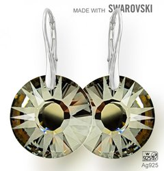 Swarovski 6724 Silver Night 19mm+ nausnice Ag