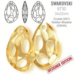 Swarovski 6730 Radiolarian 34x22mm Golden Shadow