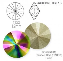 Swarovski rivoli 1122 Rainbow Dark 12mm