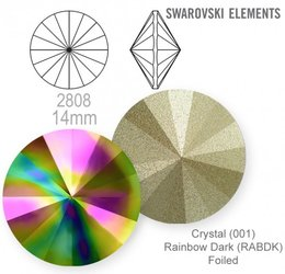 Swarovski rivoli 1122 Rainbow Dark 14mm
