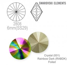 Swarovski rivoli 1122 Rainbow Dark 6mm