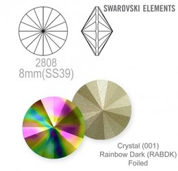 Swarovski rivoli 1122 Rainbow Dark 8mm