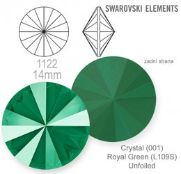 Swarovski rivoli 1122 Royal Green 14mm