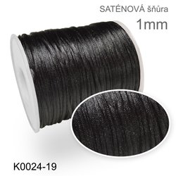 satenova snura 1mm K0024-19 Cerna